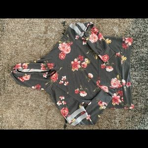 Light weight hooded floral sweatshirt